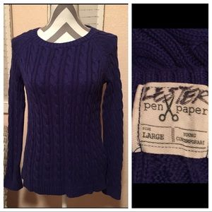 Adorable Rich Purple Cable Knit Sweater